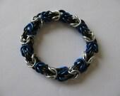 "Blue and Silver ""Ravenclaw"" byzantine chain mail bracelet"