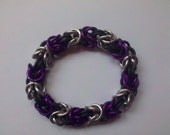 Purple and Silver Byzantine Chainmail Bracelet