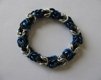 "Blue and Silver ""Ravenclaw"" byzantine chain mail bracelet"