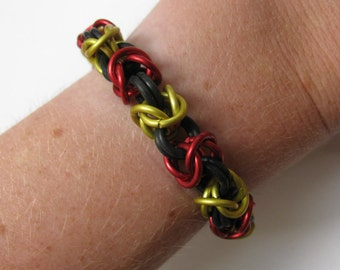 Red and Gold Chainmail bracelet