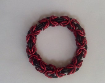 Red and Black Byzantine Chain Mail Bracelet