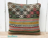 Handwoven Wool Vintage Turkish Kilim Pillow Cover, Throw Pillow