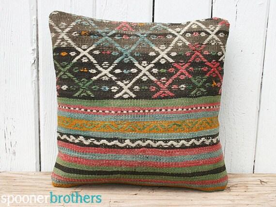Handwoven Wool Vintage Turkish Kilim Pillow Cover, Throw Pillow