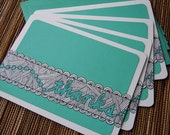 "Doodled ""Thanks"" Cards - Set of 4 in Teal"