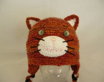 Crochet Orange Cat Hat Girl or Boy . Any size. Any color. Perfect for Winter.
