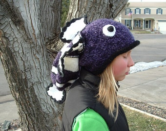 Adorable Soft Purple Fish Hat .Any size.