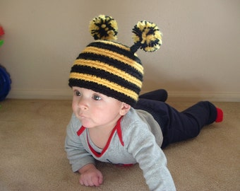 Baby Girl or Boy Bumble Bee Hat. Any size.
