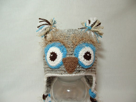 Super Fun Warm Owl Boy Hat. Fuzzy Eyebrows. Color Marble Grey. Bland Lamb's Wool and Acrylic
