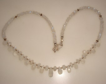 Genuine Hand Faceted Moonstone Briolettes And Beads With Silver Necklace