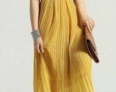 SUPER SALE Yellow pleated maxi long dress chiffon