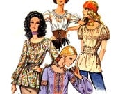 Boho 70s Peasant Blouse with Puff or Lantern Sleeves Vintage Sewing Pattern Simplicity 9313--Bust 32.5