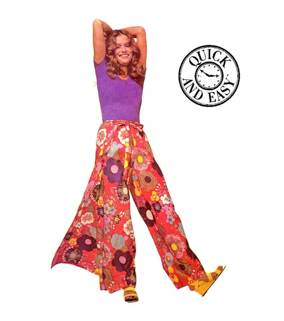 Boho 70 S Easy Sew Wrap Pants Or Shorts Vintage Sewing