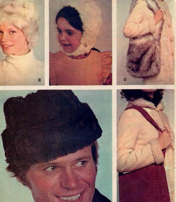 Vintage 1970s McCall's 2966 Faux Fur Dr. Zhivago Hats and Shoulder Bags Sewing Pattern--Sized for Men, Women and Children