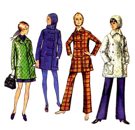 Mod 60's Car Coat, Hat, Pants Sewing Pattern Vintage Simplicity 8451 Bust 36