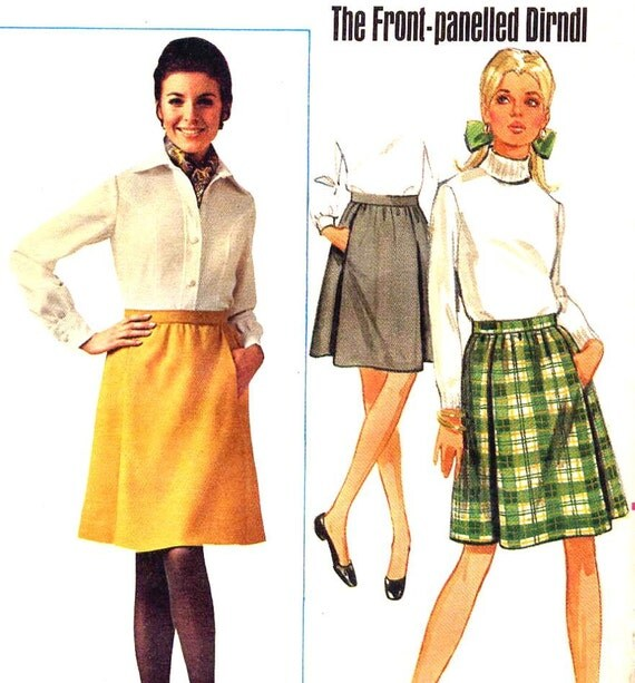 Mod 60's 'The Front Panelled Dirndl' Skirt Vintage Sewing Pattern Butterick 4948--Waist 27