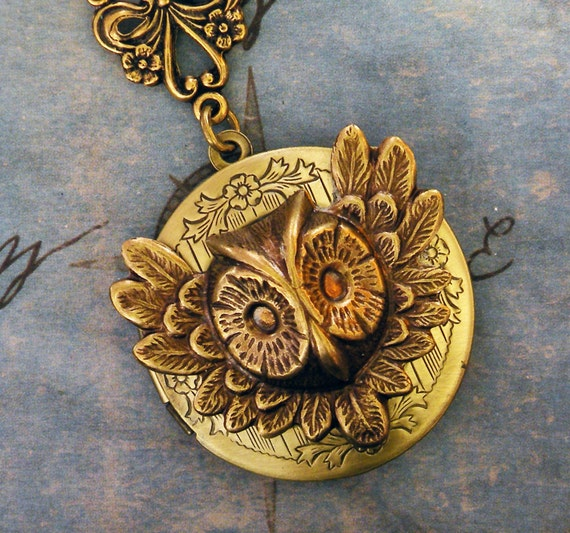 Golden Winged Owl Locket - Gold Owl Locket