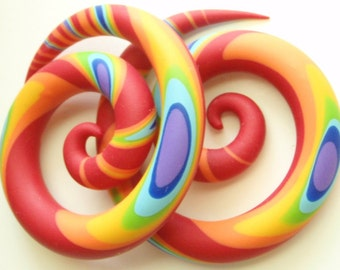 """RAINBOW RIPPLE Spiral Gauged Earrings. 2g 0g 00g 7/16"""" 1/2"""" 9/16"""" 5/8"""" Available as Fake Gauges faker plugs as well"""