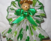Shamrock Good Luck Angel , Handmade, 3 inch, Irish Angel