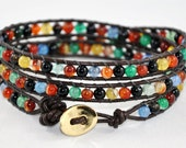 Agate Beaded Leather Wrap Bracelet - Custom orders welcome for different beads, colours, lengths, etc.