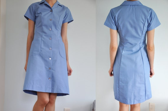 SALE Vintage Light Blue Waitress Uniform 60s 70s Diner Dress