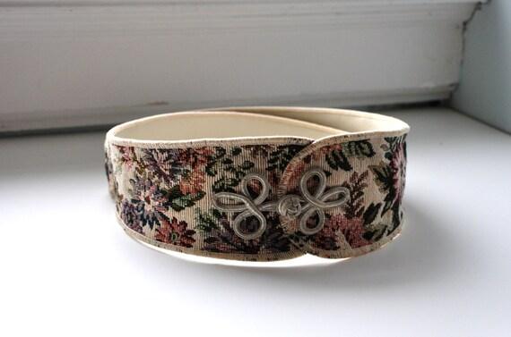 Vintage 80s Floral Tapestry Belt with Knot Detail