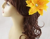 Golden Yellow Silk Tiger Lily Hair Stick Set