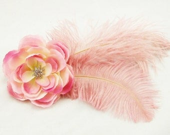 Pink Flower & Feather Fascinator Hair Clip/Pin