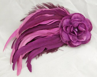 Red-Violet Feather and Flower Fascinator Hair Clip/Pin