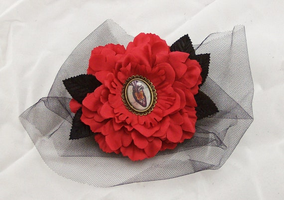 Red Peony Fascinator Anatomical Heart Charm Hair Clip/Pin