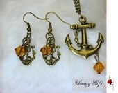 vintage style Jewelry Set, Sailor anchor necklace and Earrings with crystals