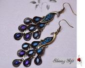 Peacock earrings, blue crystal peacock feather earrings, Shining blue color