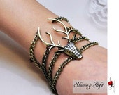 vintage style elk deer antlers bracelet