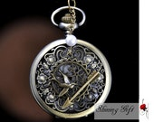Vintage Inspired Arrow, Bird,and Peeta Pearl Pocket Watch locket Necklace with curved flowers