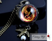Hunger Games Mockingjay and Peeta Pearl transparent crystal sphere ball quartz pocket watch necklace pendant jewelry vintage style