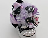 Purple Punk Rock Bling Low Top Converse with 2 DIFFERENT SETS of detachable bows (Toddler Sizes 4-10)
