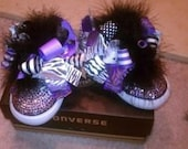 Purple Zebra Jersey Stars Bling High Top Converse with 2 DIFFERENT SETS of bows (Toddler Sizes 4-10)