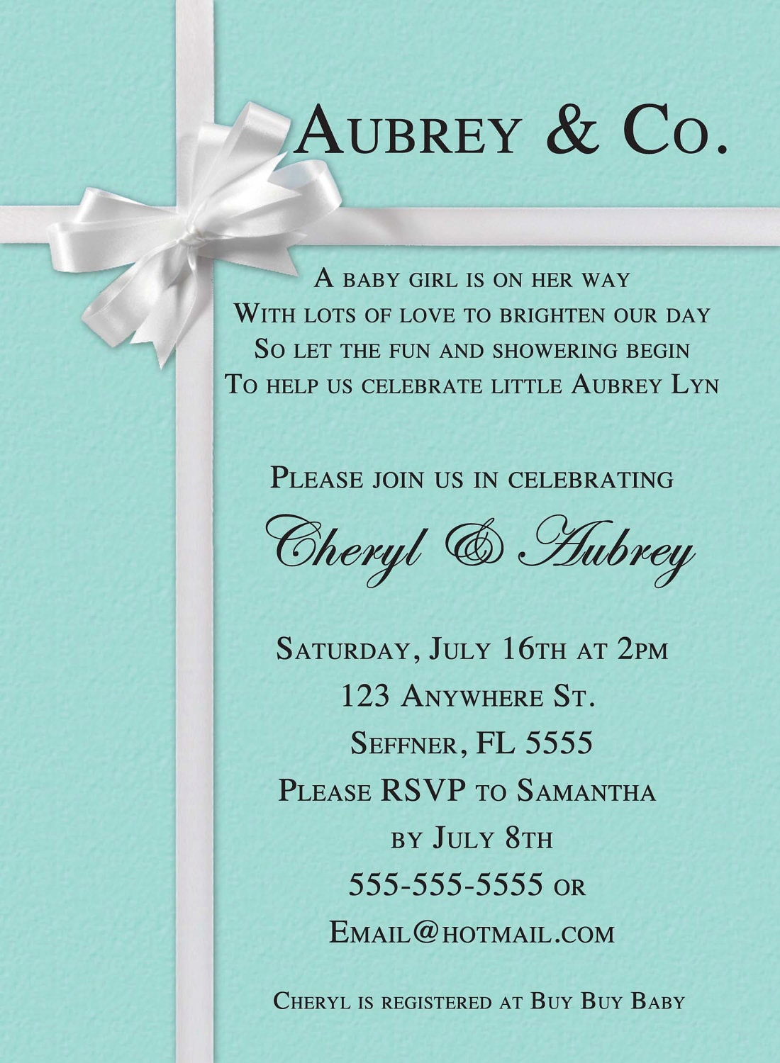 Tiffany Inspired Baby Shower Invitations with amazing invitations design