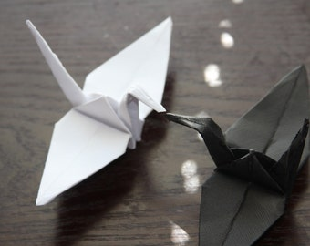 Black and White Wedding or Anniversary Paper Origami Cranes