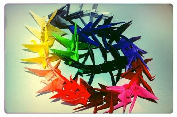 Chakra Rainbow Origami Crane Chain