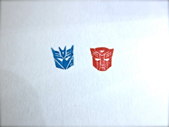 """SALE -Transformers Autobot Decepticon Rubber Stamp Set - XSmall 0.5"""" - retiring this size only"""
