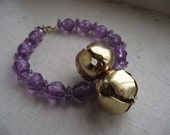 Purple Beaded Bracelet with Gold Jingle Bells