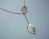 SALE...Silver Leaf Necklace Gift For Her Lariat Style Delicate Necklace Friendship Gift Women's Gift