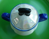 Covered Sugar Bowl Opalescent, Blue, and Black: Czecho-Slovakia (Ships Free US) CHK
