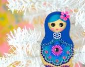 Matryoshka Ornament Nesting Doll Christmas Decoration Jeweled Wood Hand Painted