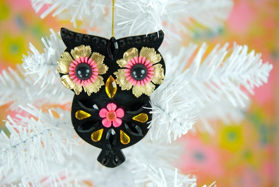 Black Owl Christmas Ornament Decoration Hand Painted Wood Jeweled