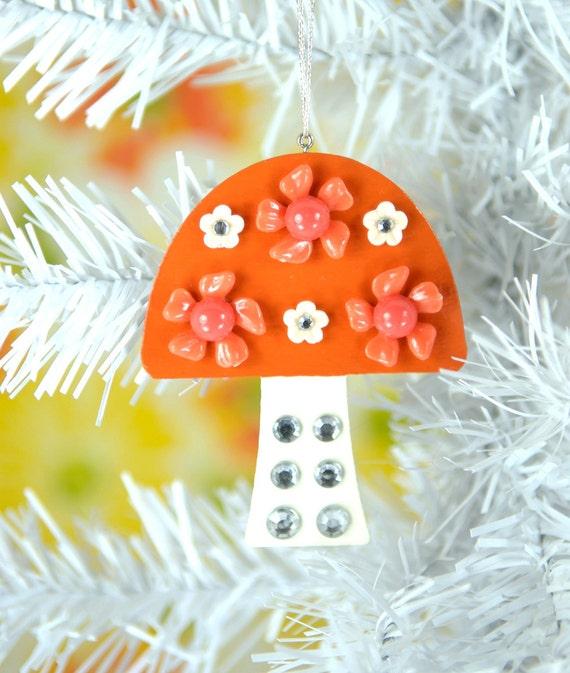 Mod Mushroom Christmas Ornament Tree Decoration Jeweled Wood Hand Painted Orange
