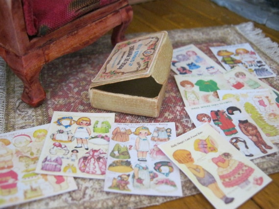 Box of Paper Dolls for Dollhouse