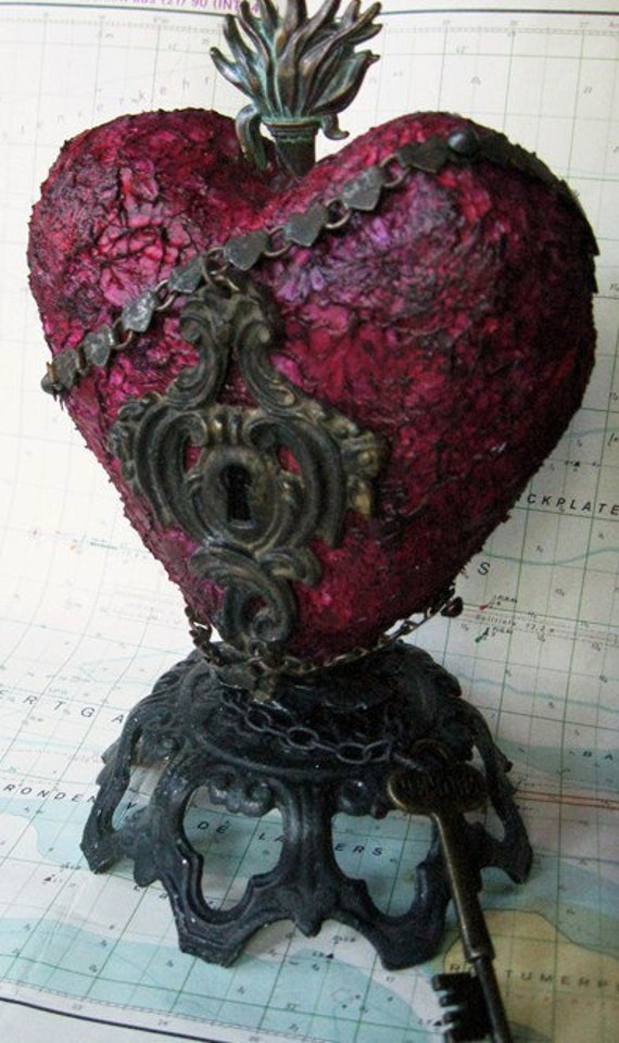 Hold On To The Key molded heart lock key sculpture nine and a half inches tall