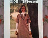 "Now REDUCED: Vintage 1970s Butterick ""Sew & Go"" kimono-sleeve pullover dress in size 14 UK and size 10 USA."