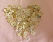 REDUCED Collection of mixed vintage white, cream and transparent buttons in good condition from 1960s-80s.